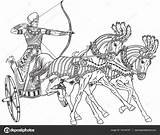 Chariot Egyptian Outline Ancient Warrior Egypt Illustration Horses Vector Horse Sketch Pharaoh Clip Carriage Clipart Wheeled Depositphotos Illustrations Pulled Drawing sketch template
