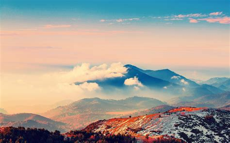 mountain clouds environment blue orange wallpapers hd
