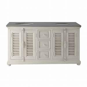 meuble double vasque en bois et pierre naturelle l 160 cm With meuble salle de bain bois 160 cm