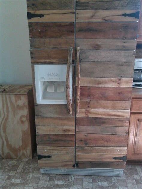 turned  plain white fridge   wooden fridge