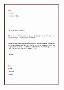 personal letter of recommendation template microsoft With short reference letter template