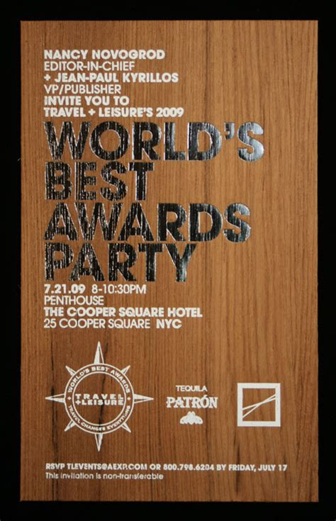fpo travel leisure worlds  awards party invitation