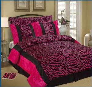 best king faux silk and flocking printing black pink zebra comforter set plus a pair of