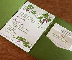 Pocket folders for letterpress invitation suites for Modern winery wedding invitations