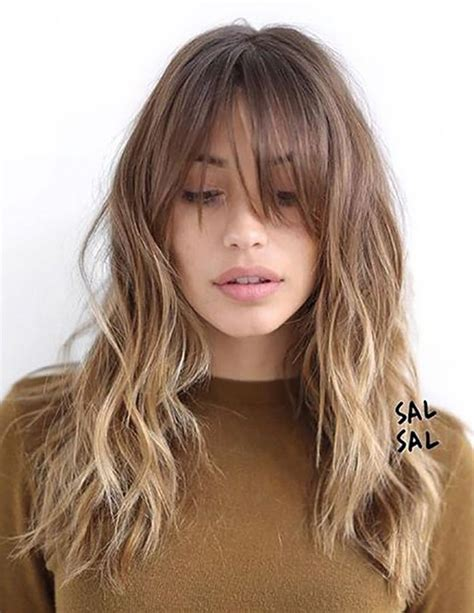 Light Brown And Hairstyles by Wavy Balayage Hairstyles With Bangs Light Brown