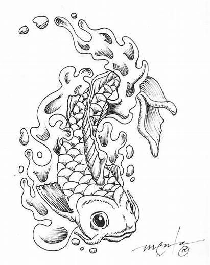 Coloring Pages Japanese Koi Psychedelic