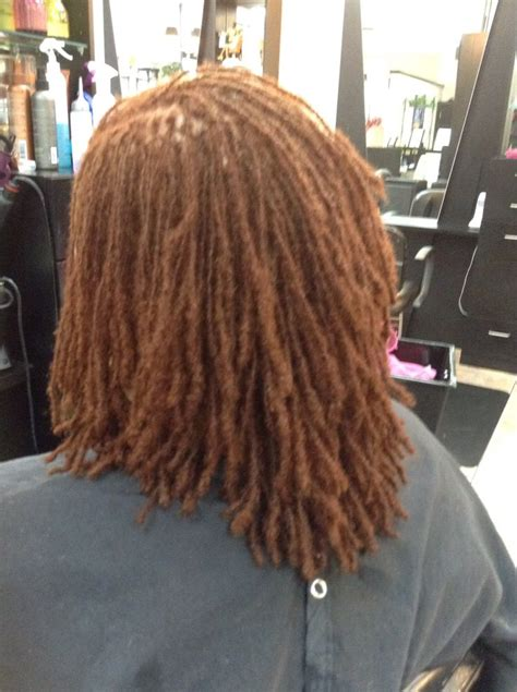 copper color sisterlocks medium short hair medium hair