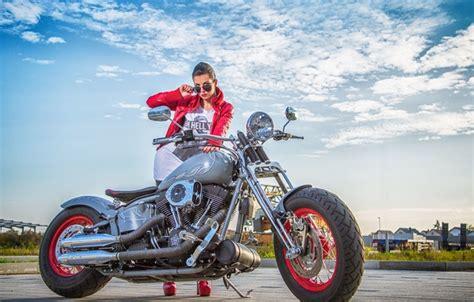 Обои харлей, мотоцикл, девушка, байк, Harley Davidson