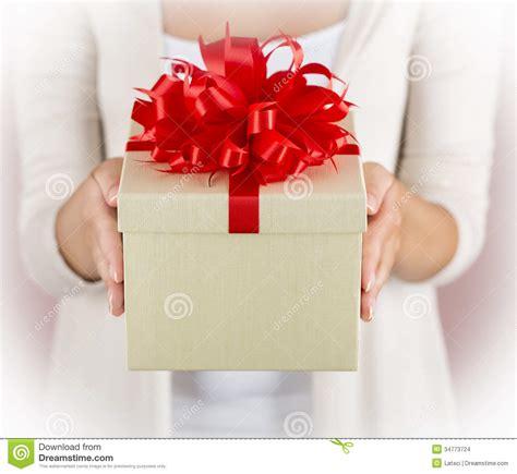 holding beautiful gift box stock images image 34773724