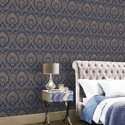 Navy Gold Damask Floral Rose Arthouse Luxe