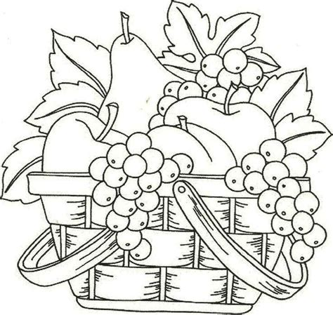 gambar buah buahan dalam keranjang untuk diwarnai