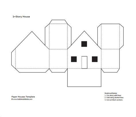 House Template Paper House Template Pdf Popup Cards House