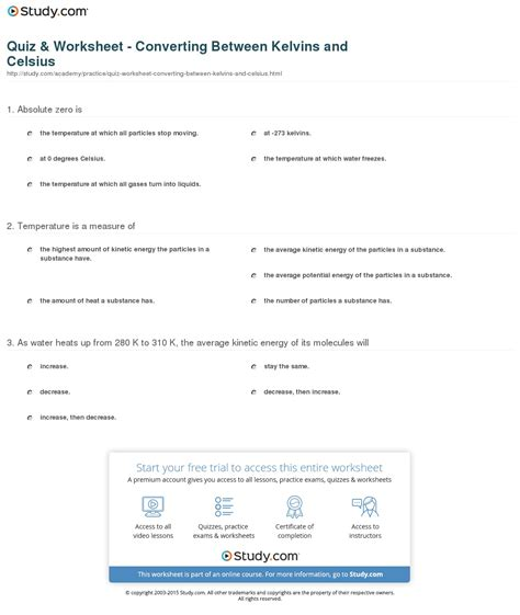 Quiz & Worksheet  Converting Between Kelvins And Celsius Studycom