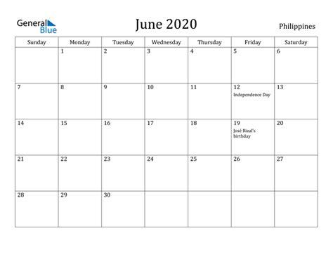 june  calendar philippines
