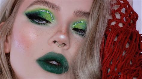 green glam makeup tutorial holiday   youtube