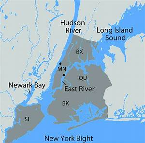Lower Hudson River Estuary  Major Waterways Are Labeled  And New York