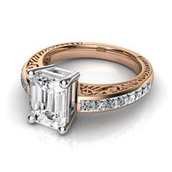 vintage emerald cut engagement rings engraved vintage style emerald cut engagement ring