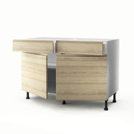 meubles bas de cuisine meuble de cuisine bas décor chêne 2 portes 2 tiroirs