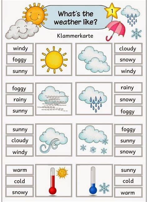 """Ideenreise Klammerkarten Zum Thema """"weather""""  Englisch Grundschule  Pinterest Wetter"""