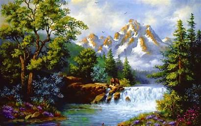 Mountain Waterfall Painting Wallpapers Stream Korean Background