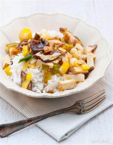 cuisine simple et saine recette bio tofu au shiitake et petits légumes au wok cuisine saine sans gluten sans lait