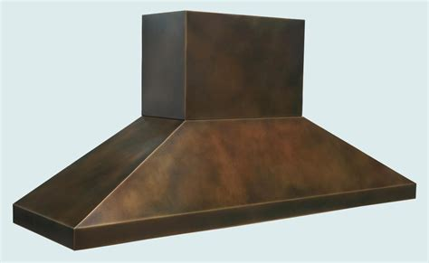 Hand Made Bronze Range Hood With Stack & Pyramid Shape by