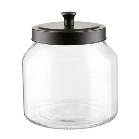 Glass Canisters by Glass Canisters With Matte Black Lids The Container Store