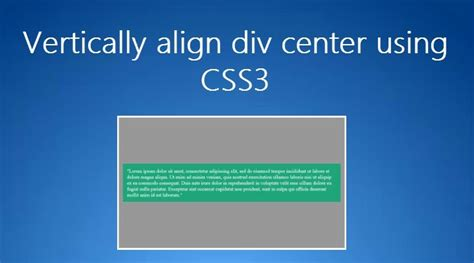 Css Center Div Vertically Center Div Using Css3