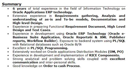 Summary For A Resume With No Experience by Sle Resume Oracle Apps