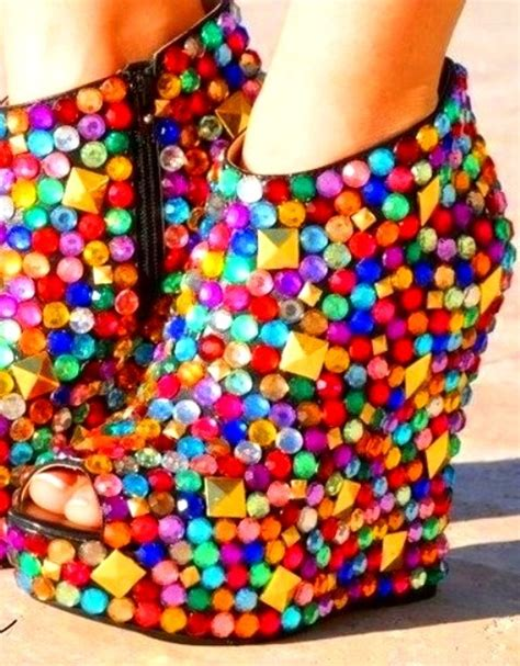 chagne colored wedges rainbow color jeweled wedges sizzlingsummerbling