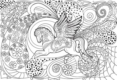 pegasus hand drawn adult coloring book page stock vector