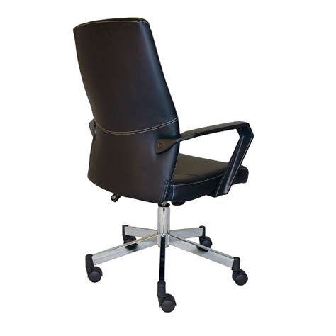 sheldon low back office chair in black faux leather with