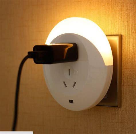 small wall l plug in 220v 2 usb led small night light sensor light control plug