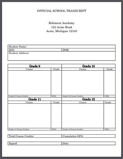 High School Transcript Template Official High School Transcript Template For Homeschool