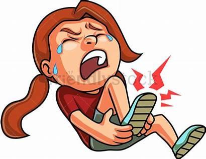 Leg Broken Clipart Crying Clip Cartoon Hurt