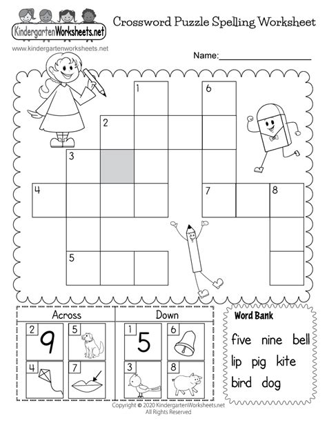 crossword puzzle spelling worksheet  kindergarten