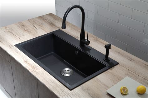 black single bowl kitchen sink kraus kgd 412b dual mount single bowl black onyx granite 7902