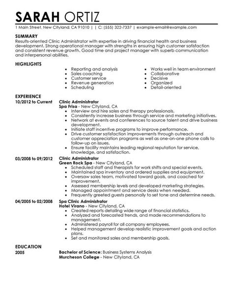 How To Write A Fitness Resume by Best Clinic Administrator Resume Exle Livecareer
