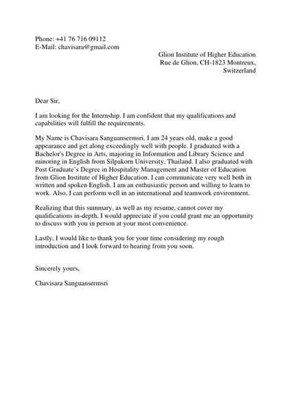 Letter Exles Engineering Internship by Subject Motivation Letter For A Master Program In