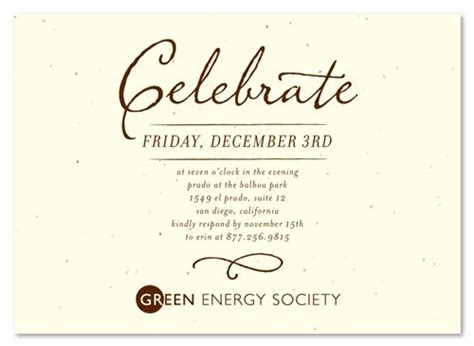 Green Corporate Event Invitations ~ Antique Script by