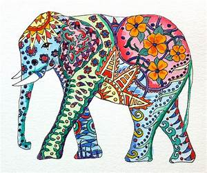 Original Watercolor Elephant with Colorful Tattoo Patterns