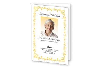 yellow floral border funeral program template elegant