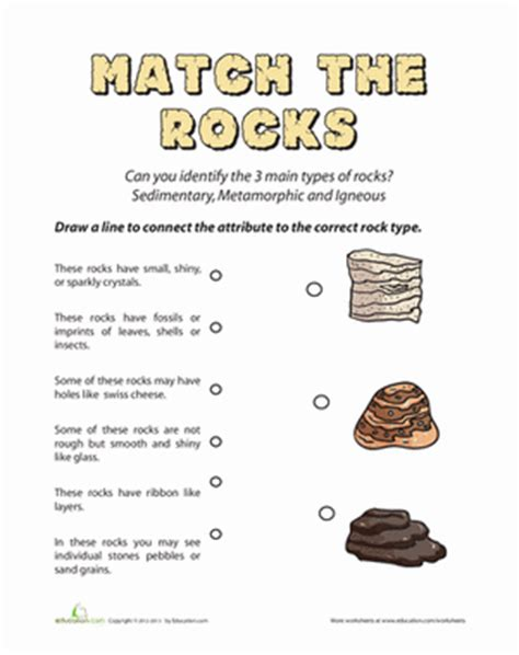 types of rocks quiz worksheets rock and earth science