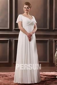 Robe Femme Ronde Chic : robe chic grande taille simple col v manche courte en ~ Preciouscoupons.com Idées de Décoration