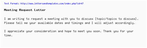 meeting request email  letter sample