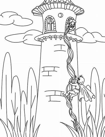 Coloring Rapunzel Pages Tower Tangled Hair Prince