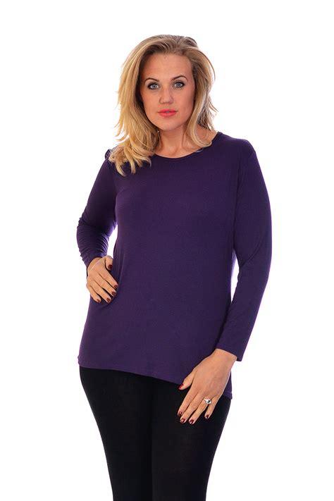 Neue Damen Plus Größe T-Shirt Damen Top Plain Langarm ...