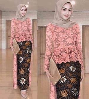 setelan baju kebaya brukat  rok batik muslim ryn fashion