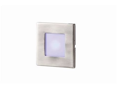 recessed brushed chrome blue led square wall light indoor
