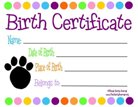dog birth certificates pet themed kids parties custom birth certificate to go